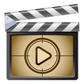 Film Clapboard. Play Stock Photo