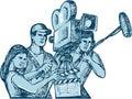 Film Crew Clapperboard Cameraman Soundman Drawing Royalty Free Stock Photo