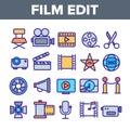 Film Edit, Filmmaking Linear Vector Icons Set