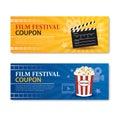 Film festival banner and coupon. Cinema movie element design