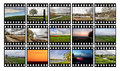 Film fifteen color slides on a white background Royalty Free Stock Photography