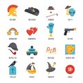 Film Genres Icon Set Royalty Free Stock Photo