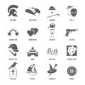Film Genres Icons Black Set Royalty Free Stock Photo