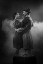 Film noir: romantic couple embracing Royalty Free Stock Photo