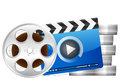 Film reel and clapper board Stock Photo