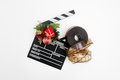 Film reel and clapper board with christmas decoration Royalty Free Stock Photo