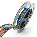 Film reel with filmstrip Royalty Free Stock Photos