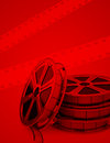 The film reel illustration of reels and a red background Royalty Free Stock Photos
