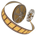 Film Reel Over White Royalty Free Stock Photo
