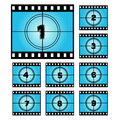 Film Screen Countdown Numbers. Royalty Free Stock Photo