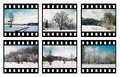 Film six color slides on a white background Stock Photography