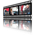 Film stip images of woman truck driver strip a in various stages her job Stock Photo
