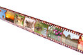 Film strip with colorful vibrant photographs on white background various themes all pictures used are mine Stock Photos
