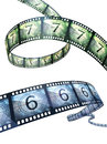 Film strip countdown clipping path and isolated on white Royalty Free Stock Images