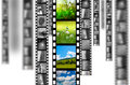 Film strip evolution of cinematography from old black and white movies to the hd ones Royalty Free Stock Photography