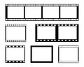 Film strip frame set of blank in black Stock Photography