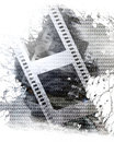 Film strip old on a metal plate background Stock Photos