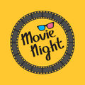 Film strip round circle frame. 3D glasses. Movie night text. Lettering. Yellow background. Flat design.