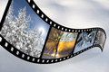 Film strip with scandinavian winter pics pictures of beautiful photos Royalty Free Stock Image