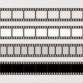 Film strip set. Collection of film for the camera. Cinema frame. Vector template on transparent background