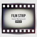 Film Strip Vector. Frame Strip Blank Scratched Isolated On Transparent Background. Royalty Free Stock Photo