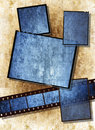 Film strip with vintage grunge texture on grunge Royalty Free Stock Photo