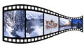 Film strip with winter images isolated Stock Photos