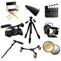 Filming movie icons a vector illustration of icon sets Royalty Free Stock Images