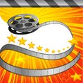 Filmy background vector illustration of film strip roll on conema Stock Photos