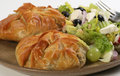 Filo pastry parcels of filled with fennel and mushroom with a mixed salad Stock Image