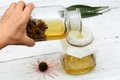 Filtering tincture from flower heads of narrow leaf purple cone flower