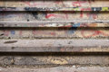 Filthy and dirty stairway close up of a Stock Image