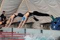 Fin swimming action Stock Photos