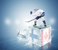 Final game Finland vs Canada. Hockey player on ice cube Royalty Free Stock Photo