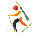 Final lap fruits and vegetables in the shape of a biathlete skiing a after a penalty loop Stock Photography