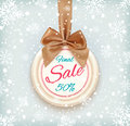 Final sale background on round banner and snow winter christmas new year vector illustration Royalty Free Stock Photography