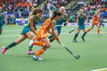 Finals netherlands australia the hague june dutch field hockey player naomi van as rushes past australian anna flanagan during the Royalty Free Stock Photo