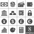 Financal icons set - Simplus series Stock Photos