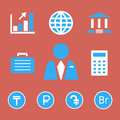 Finance and bank icons with currency symbols.