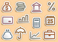 Finance and Banking icons set Royalty Free Stock Photos