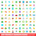 100 finance and banking icons set, cartoon style