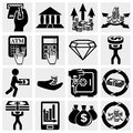 Finance banking and money vector icons set isolated on grey background eps file available Stock Photo