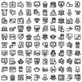 Finance bold outline vector icons set included banking and digital banking every single icon can be easily modified or edited