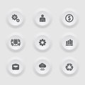Finance and business  icon set in button frame. Stock Photo