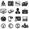 Finance and business icons set isolated on white background Stock Image