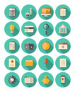 Finance and business modern icons set vector of colorful in flat design style with long shadow effect on financial theme isolated Royalty Free Stock Photography