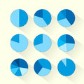 Finance Circle Pie Diagram Set Blue Business