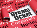 Finance concept: black text Dream Ticket under the piece of  torn paper Royalty Free Stock Photo