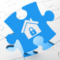 Finance concept home on puzzle background blue pieces d render Royalty Free Stock Photography