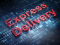 Finance concept red express delivery on digital background d render Stock Photos